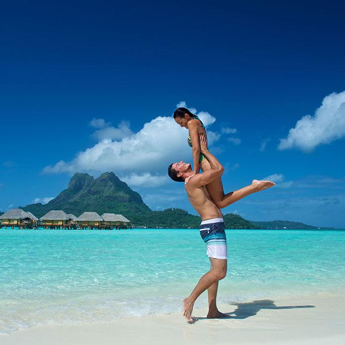Overwater romance in Bora Bora